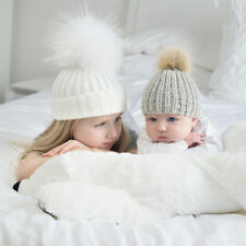 Natural Wool Baby skin Frendly 2 Pc Mother and Child Pom Beanie