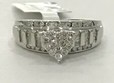 White Gold Heart Engagement Bridal Wedding Ring Round Baggette Vintage Antique