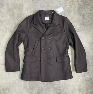 Bill Reid Brown Bond Wool Peacoat Mens Size Large New $695 Made in Italy 🇮🇹