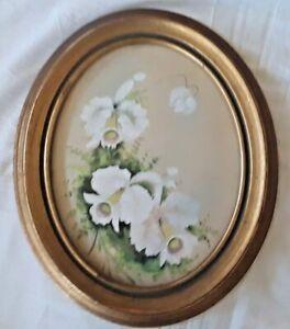 P. LeGrag (French) Antique Gouache/Watercolor, Floral, Oval Presentation.