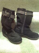 Khombu Black Snow Walking Boots suede Fur Interior Sz 5.5 UnWorn thermolite