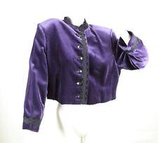 Vintage Jaeger Purple Velvet Cropped Boxy Jacket Military Sgt. Peppers 90s L 16