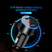 Dual USB Port Car Charger 5V/3.1A Quick Charge Adapter LED for iPhone Samsung LG
