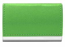 WELLSPRING GREEN SIGNATURE MAGNETIC FLIP CASE CARD HOLDER FAUX LEATHER STAINLESS