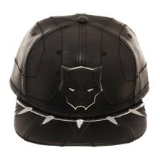 Marvel Comics Black Panther Movie Faux Leather Snapback Hat Metal Logo Suit Up