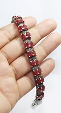 925 Sterling Silver Rose Cut Victorian Style Diamond Sapphire Ruby Bracelet