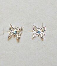 aqua Cz, 7mm x 7.5mm, 925 St silver studs, butterfly,
