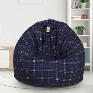 Bean bag Cover Cotton Sofa chair without Bean Blue Grey for a luxury Home Decor