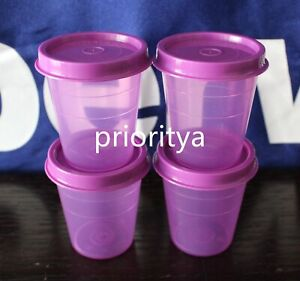 Tupperware Tupper Mini Midgets Container 2oz Set of 4 Purple New Rare