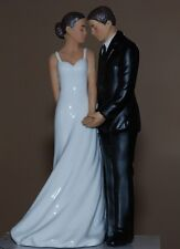 Romantic African American Porcelain Wedding Bliss Bride & Groom Cake Topper