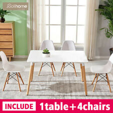 Dining Table and 4 Chairs Set Eiffel Retro Wood Lounge Office Coffee Kitchen