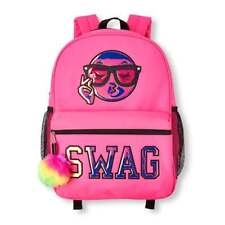 The Children's Place Girls Liquid Iridescent Emoji 'SWAG' Neon Backpack & Lunchb