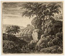 Antique Master Print-LANDSCAPE-WATERFALL-Waterloo-ca. 1650