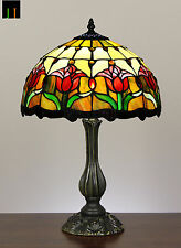 EOFY Special  - JT Tiffany Tulip Stained Glass Bedside Side Table Lamp