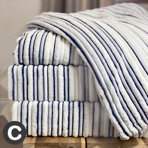 Super Soft & Fluffy X LARGE Luxury White Navy Blue Mink Bed Sofa Blanket Throw