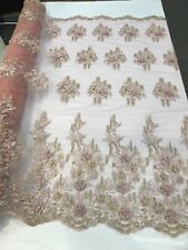 DUSTY ROSE METALLIC 3D FLORAL DESIGN WITH PEARLS ON A MESH LACE-SOLD BY YARD.