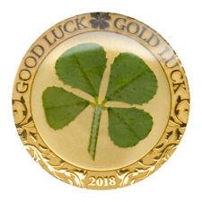 2018 Palau Four-Leaf Clover 1 g Gold Enameled $1 GEM Proof Mint Cap SKU50407