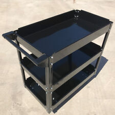 150KG 3 Tiers Heavy Duty Steel Mechanic Handyman Tool Cart Trolley Tray - Black