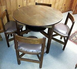 """Antique Mission Arts & Crafts Oak 38"""" Round Table With 4 Fitted Triangle Chairs"""