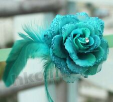 BE Pine Green Feather rose flower clip brooches Hairpin Wedding Party dancing