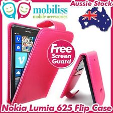 Nokia Lumia 625 PU Leather Flip Case Cover Wallet Card Holders Pink + SP
