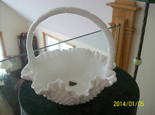 Hobnail Milk Glass Ruffled Handled Fenton Art Glass Vintage Basket