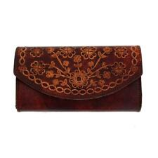 Women's Wallet Brown Leather Embossed Floral Design Checkbook Style Pocketbook