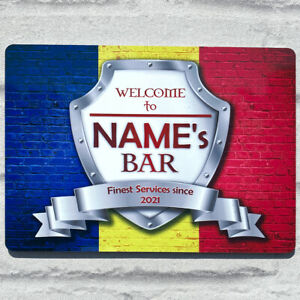 Personalised Romania Romanian Flag Sign Metal Sign A4 - A5 size Bar Add Name