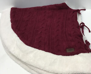 UGG 48-Inch Cable Knit Christmas Tree Skirt in Burgundy/ Sherpa White