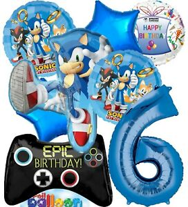 Sonic Party Supplies Video Gamers 6th Birthday Balloon Decoration Bundle