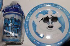 NEW SEAWORLD GOLD COAST POLAR BEAR MELAMINE PLASTIC PLATE AND DRINK BOTTLE SET
