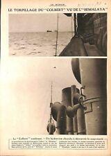Guerre sous-marine Torpille du Cuirassé Colbert Hydravion WWI 1917 ILLUSTRATION