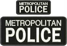 METROPOLITAN POLICE EMBRIDERY PATCH 4X10 AND 2X5 hook on back BLACK/WHITE