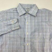 Brooks Brothers Dress Shirt Mens 15.5-34 Long Sleeve Blue Non Iron Supima Cotton