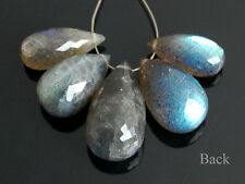 Natural Labradorite Faceted Teardrop Briolette Semi Precious Gemstone Beads 004