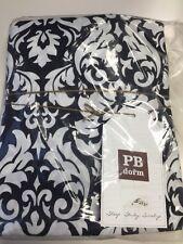 3pc Pottery Barn PB Teen Damask Sheet Set Black/White XL TWIN Floral Dorm