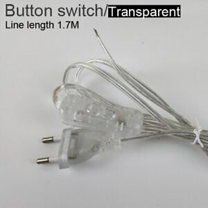 EU Plug With Switch Wire 1.7M Dimmer Black/White Lamp Cable Table Floor lamp