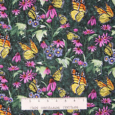 Wild Wings Animal Fabric - CP55746 Butterflies on Green Scene - Springs YARD