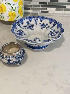 Royal Delft Koninklijke Porceleyne Fles Blue Floral Compote Bowl + Trinket Dish