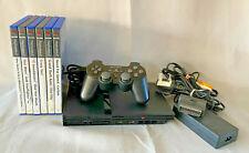 Slimline Black Sony Playstation 2 (PS2) Bundle - leads, controller & 6 games (A)