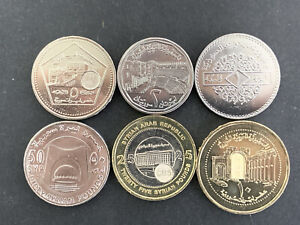 Syria set 6 Coins  1,2,5,10,25,50 pounds 1996,2003,2018 NEW UNC!