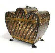 19th Century Georgian Tole Ware Hand Painted Tea Caddy