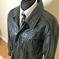 Savatini Mens  Black Classic LeatherJacket Large