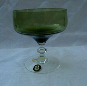 SASAKI Vintage Crystal Green Champagne or Sherbet Glass Clear Stem