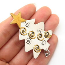 925 Sterling Silver 2-Tone Vintage Mexico Christmas Tree Design Pin Brooch