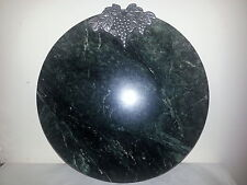 """Green Marble Large 12"""" Round Cutting Board with Pewter Grape Cluster and Vines"""