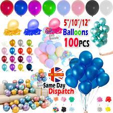 "100pcs 5""/10""/12"" PEARL+ Chrome BALLOONS +Pastel helium BALOON Birthday Party uk"