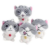 1PC Cute Cat Plush Dolls Toy Stuffed Animal Bolster Key Chain Keyring Random