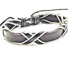 Leather Bracelet Adjustable Surfer Style Bracelets Hemp Cord Mens Ladies Layered Brown and White