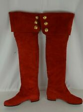 Escada Women's Red Suede Boots Size 36.5 Gold Accents Knee High Buttons 6.5 US